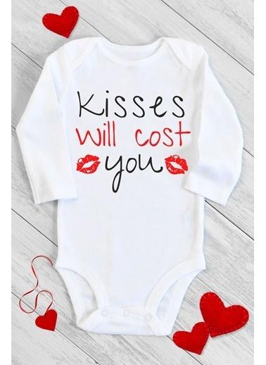 Happy Onesie Co Öpücük Parayla Uzun Kol Çıtçıtlı Bebek Body Beyaz